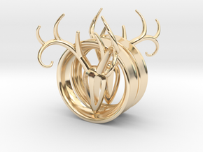 2 Inch Antler Tunnels in 14K Yellow Gold