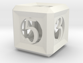 Hollow d6, 2cm in White Natural Versatile Plastic