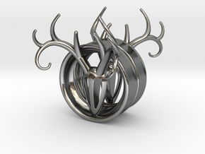 1 & 13/16 inch Antler Tunnels in Polished Silver