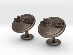 Dragonfly Cufflinks in Polished Bronzed Silver Steel