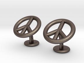 Peace&LoveCufflinks in Polished Bronzed Silver Steel