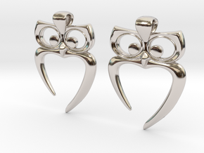 Owl Heart Earrings in Platinum
