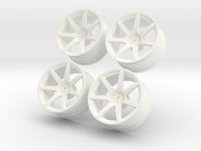 1/10 Touring Car Vossen CV7  Wheel Set  in White Processed Versatile Plastic