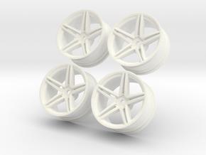 1/10 Touring Car Vossen CV5 Wheel Set  in White Processed Versatile Plastic
