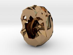 Skull Pendant Large  in Polished Brass