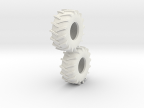 1:64 scale 30.5-32 Tire Pair in White Strong & Flexible