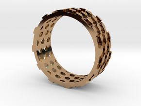 Parquet Deformation Ring (59mm) in Polished Brass