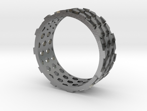 Parquet Deformation Ring (59mm) in Natural Silver