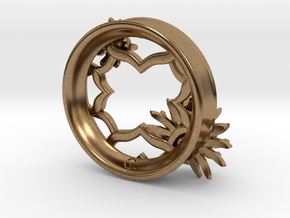 2 Inch Chrysanthemum Tunnel (Right) in Natural Brass