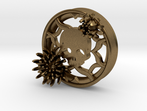 2 Inch Chrysanthemum And Skull Tunnel (right) in Natural Bronze
