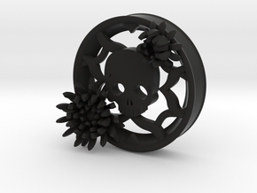 2 Inch Chrysanthemum And Skull Tunnel (right) in Black Natural Versatile Plastic