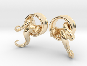 1 Inch TentacleTunnels in 14K Yellow Gold