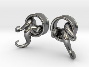 1 Inch TentacleTunnels in Polished Silver