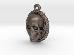 Skull Earring in Polished Bronzed Silver Steel