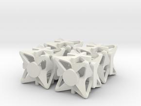 Fudge Pinwheel d6 4d6 Set in White Natural Versatile Plastic