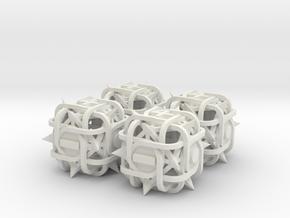 Fudge Thorn d6 4d6 Set in White Natural Versatile Plastic