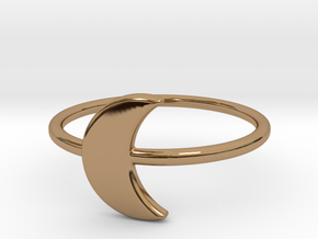 Midi Moon Ring by titbit in Polished Brass