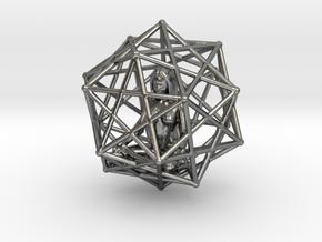 Merkabah Starship Meditation 40mm Dodecahedral in Polished Silver