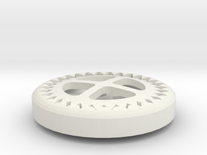 Gear Button in White Natural Versatile Plastic