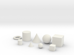 Primitive objects for test printing_V1.2 in White Natural Versatile Plastic
