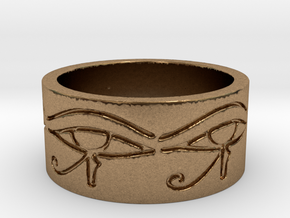 Egyptian Eye Of Horus Ring Size 7 in Natural Brass