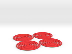 Spiral in a Square | 2mm in Red Processed Versatile Plastic