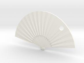 Oriental Fan in White Processed Versatile Plastic