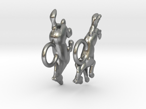 Running Horse Earrings in Natural Silver