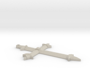 Medieval Style Cross Pendant Charm in Natural Sandstone