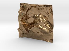 3'' Mt. Wilbur Terrain Model, Montana, USA in Natural Brass