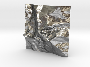 3'' Longs Peak Terrain Model, Colorado, USA in Natural Silver