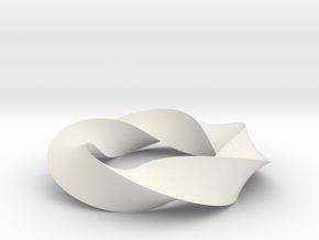 Mobius Loop - Triangle 5/3 twist in White Natural Versatile Plastic
