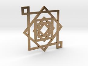 Illusionary Square Pendant in Natural Brass