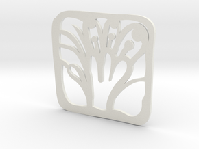 Floragasm Mug Mat in White Natural Versatile Plastic
