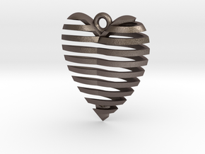 Heart Spiral Pendant in Polished Bronzed Silver Steel