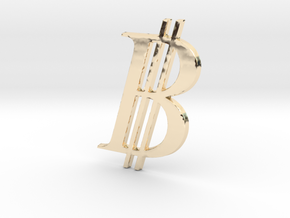 Bitcoin Logo 3D 80mm in 14K Yellow Gold