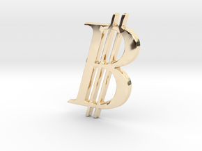 Bitcoin Logo 3D 30mm in 14K Yellow Gold