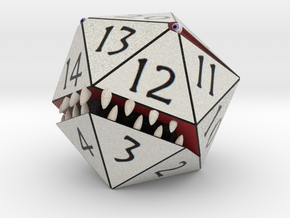 D20 White Monster Figurine in Full Color Sandstone