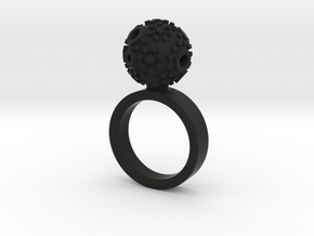 Textured Ball Ring - size M in Black Natural Versatile Plastic