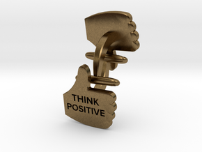 Thumbs Up think positive Cufflink in Natural Bronze