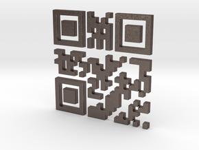 Wien Vienna 3D QR Code in Polished Bronzed Silver Steel