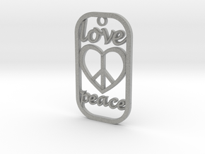 Dog Tag Love Peace Def File in Metallic Plastic