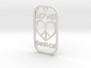 Dog Tag Love Peace Def File in White Natural Versatile Plastic