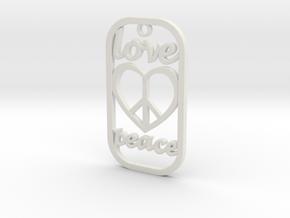 Dog Tag Love Peace Def File in White Natural Versatile Plastic