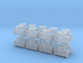 """7/8"""" scale pipe fittings: 1 1/2"""" pipe in Smooth Fine Detail Plastic"""