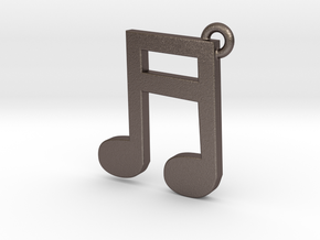 Music Note Pendant in Polished Bronzed Silver Steel