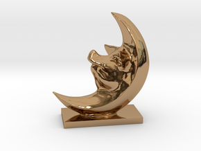 Pig In The Moon 3 Inches Tall  in Polished Brass