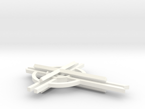 "Cathedral Cross 3"" (no top hook)  in White Strong & Flexible Polished"