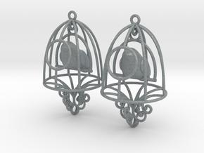 Bird in a Cage Earrings 07 in Polished Metallic Plastic