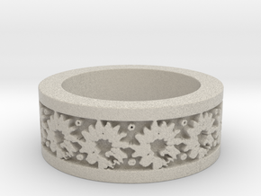 Sunflower Ring Ring Size 9 in Natural Sandstone